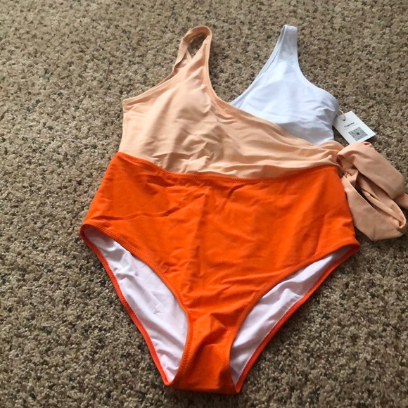 b275f4e44c8 Cupshe Swim | Orange And White Bowknot Onepiece Suit | Poshmark